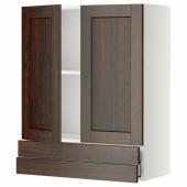 МЕТОД / МАКСИМЕРА Навесной шкаф/2дверцы/2ящика, белый, Эдсерум коричневый, 80x100 см