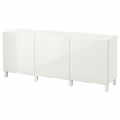 БЕСТО Комбинация для хранения с дверцами, белый, Сельсвикен глянцевый/белый, 180x40x74 см