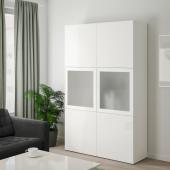 БЕСТО Комбинация д/хранения+стекл дверц, белый, Сельсвикен глянцевый/белый матовое стекло, 120x40x192 см
