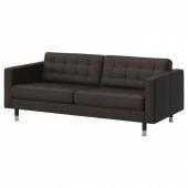 ЛАНДСКРУНА 3-местный диван-кровать, Гранн, Бумстад темно-коричневый/металл