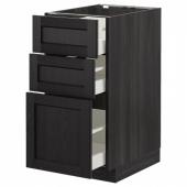 МЕТОД / МАКСИМЕРА Напольный шкаф с 3 ящиками, черный, Лерхюттан черная морилка, 40x60 см