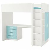 СТУВА / ФРИТИДС Кровать-чердак/4 ящика/2 дверцы, белый, голубой, 207x99x182 см