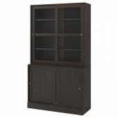 ХАВСТА Комбинация с раздвижными дверьми, темно-коричневый, 121x47x212 см