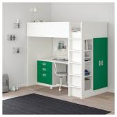 СТУВА / ФРИТИДС Кровать-чердак/3 ящика/2 дверцы, белый, зеленый, 207x99x182 см