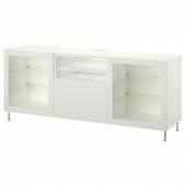 БЕСТО Тумба д/ТВ с ящиками, белый, лаппвик/сталларп белый прозрачное стекло, 180x42x74 см