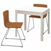 ЭКЕДАЛЕН / БЕРНГАРД Стол и 2 стула, белый, Мьюк золотисто-коричневый, 80/120 см
