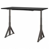 ИДОСЕН Стол/трансф, черный, темно-серый, 160x80 см