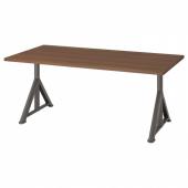 ИДОСЕН Письменный стол, коричневый, темно-серый, 160x80 см