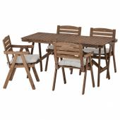 ФАЛЬХОЛЬМЕН Стол+4 кресла, д/сада, серо-коричневый светло-коричневая морилка, Куддарна Куддарна серый