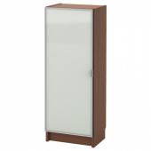 БИЛЛИ / МОРЛИДЕН Шкаф книжный со стеклянной дверью, коричневый ясеневый шпон, стекло, 40x30x106 см