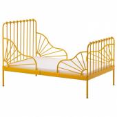 МИННЕН Раздвижная кровать с реечным дном, темно-желтый, 80x200 см
