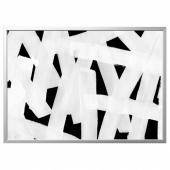 БЬЁРКСТА Картина с рамой, Мазки, цвет алюминия, 140x100 см
