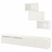 БЕСТО Шкаф для ТВ, комбин/стеклян дверцы, белый, Лаппвикен белый прозрачное стекло, 240x42x190 см