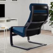 ПОЭНГ Кресло, черно-коричневый, Шифтебу темно-синий