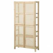ИВАР Стеллаж с дверцами, сосна, 89x30x179 см