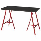 ЛИННМОН / ЛЕРБЕРГ Стол, черно-коричневый, красный, 120x60 см