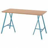 ХИЛВЕР / ЛЕРБЕРГ Стол, бамбук, синий, 140x65 см