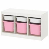 ТРУФАСТ Комбинация д/хранения+контейнеры, белый белый, розовый, 99x44x56 см