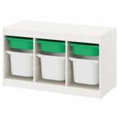 ТРУФАСТ Комбинация д/хранения+контейнеры, белый зеленый, белый, 99x44x56 см