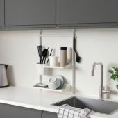 СУННЕРСТА Комплект кухонных аксессуаров, без сверления, полка/сушилка/контейнер