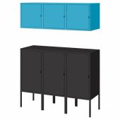 ЛИКСГУЛЬТ Комбинация д/хранения, антрацит, синий, 105x35x117 см
