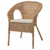 АГЕН Кресло с подушкой-сиденьем, ротанг, Норна неокрашенный