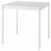 МЕЛЬТОРП Стол, мозаичный орнамент, белый, 75x75 см