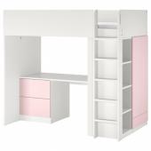 СМОСТАД Кровать-чердак, белый бледно-розовый, с письменным столом с 3 ящиками, 90x200 см