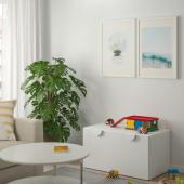 СМОСТАД Скамья с отделением для игрушек, белый, белый, 90x50x48 см