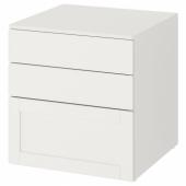 СМОСТАД / ОПХУС Комод с 3 ящиками, белый белый, с рамой, 60x55x63 см
