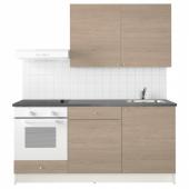 КНОКСХУЛЬТ Кухня, под дерево серый, 180x61x220 см