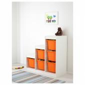 ТРУФАСТ Комбинация д/хранения, белый, оранжевый, 99x44x94 см