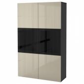 БЕСТО Комбинация д/хранения+стекл дверц, черно-коричневый, Сельсвикен глянцевый/бежевый прозрачное стекло, 120x40x192 см