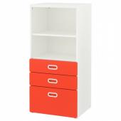 СТУВА / ФРИТИДС Стеллаж с ящиками, белый, красный, 60x50x128 см