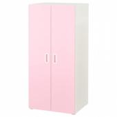 СТУВА / ФРИТИДС Шкаф платяной, белый, светло-розовый, 60x50x128 см