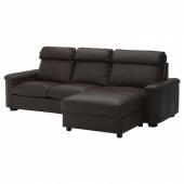 ЛИДГУЛЬТ 3-местный диван-кровать, с козеткой, Гранн/Бумстад темно-коричневый