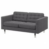 ЛАНДСКРУНА 2-местный диван, Гуннаред темно-серый/металл