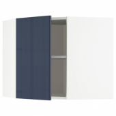 МЕТОД Угловой навесной шкаф с полками, белый, Ерста черно-синий, 68x60 см