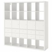 КАЛЛАКС Стеллаж с 10 вставками, белый, 182x182 см