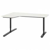 БЕКАНТ Углов письм стол левый, белый, черный, 160x110 см