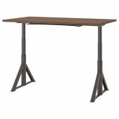ИДОСЕН Стол/трансф, коричневый, темно-серый, 160x80 см