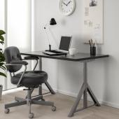 ИДОСЕН Письменный стол, черный, темно-серый, 120x70 см