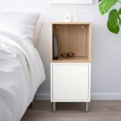 ЭКЕТ Комбинация шкафов с ножками, белый, под беленый дуб, 35x35x80 см