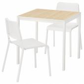 МЕЛЬТОРП / ТЕОДОРЕС Стол и 2 стула, ясень, белый, 75x75 см