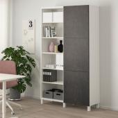 БЕСТО Комбинация для хранения с дверцами, белый, Кэлльв/Стуббарп под бетон, 120x42x202 см