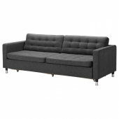ЛАНДСКРУНА 3-местный диван-кровать, Гуннаред темно-серый/металл