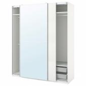 ПАКС / МЕХАМН/АУЛИ Гардероб, комбинация, белый, зеркальное стекло, 200x66x236 см