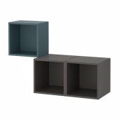 ЭКЕТ Комбинация настенных шкафов, серо-бирюзовый, темно-серый, 105x35x70 см