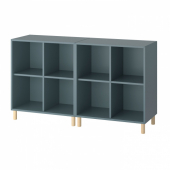 ЭКЕТ Комбинация шкафов с ножками, серо-бирюзовый, дерево, 140x35x80 см