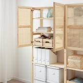 ИВАР Комбинация для хранения с дверцами, сосна, 174x30x179 см